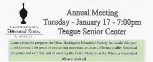 Come to our Annual Meeting on Tuesday, January 17th